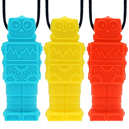 Ausbay Sensory Chew Necklace Chewelry for Boys and Girls(3 Pack), BPA Free Silicone Chewable Robot Pendant Necklaces for Kids with Autism ADHD - Chewy Oral Chewing Toys - Blue, Red, Yellow