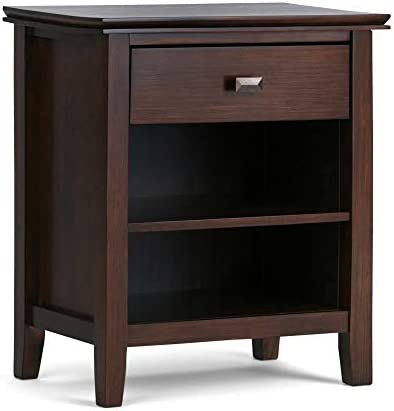 Simpli Home AXCRART46-RUS Artisan Solid Wood 24 inch Wide Contemporary Bedside Nightstand Table in Russet Brown