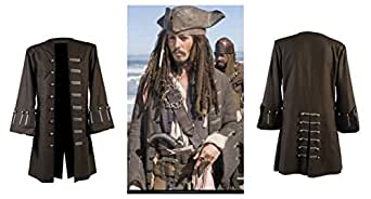 Marche Sydney Jack Sparrow Pirates Of The Caribbean Johnny Depp Brown Cotton Coat Jacket (L)