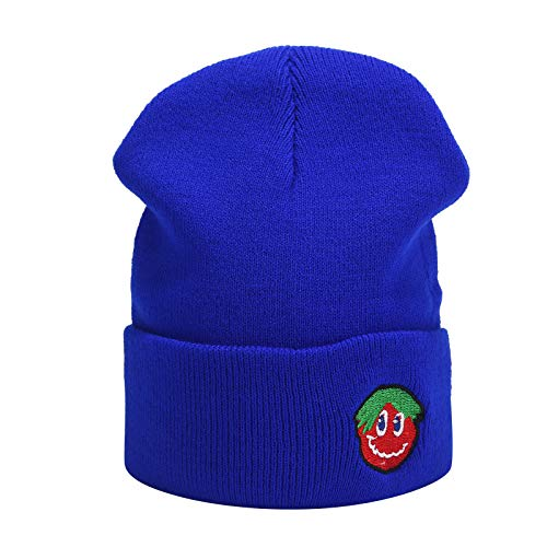 Fashion Cartoon Knit Hat,Crytech Soft Stretchy Solid Tomato Embroideried Wool Knitted Cable Cuffed Beanie Cap Stylish Outdoor Sport Warm Skull Snow Ski Hat for Women Men Boy Girl Couples (Dark Blue)