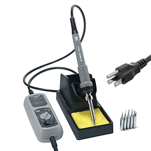 Sywon 60W ESD Soldering Iron Kit with ON-OFF Switch Temperature Adjustable, Large Soldering Stand Holder, 5 Extra Tips and 104 Inch Power Cord