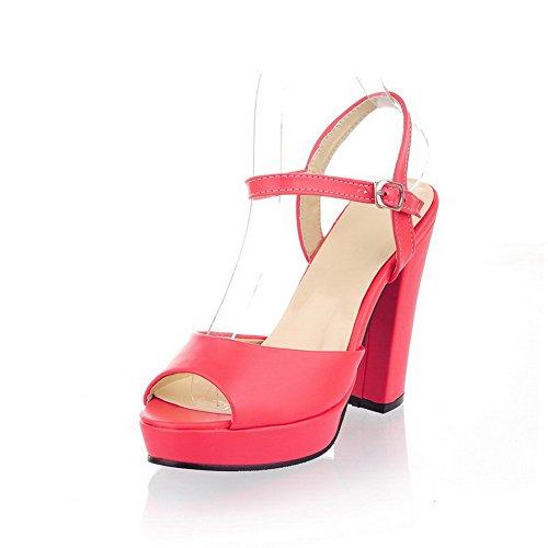 AllhqFashion Damen Schnalle Hoher Absatz PU Leder Rein Sandalen mit Hohem Absatz Wassermelone Farbe