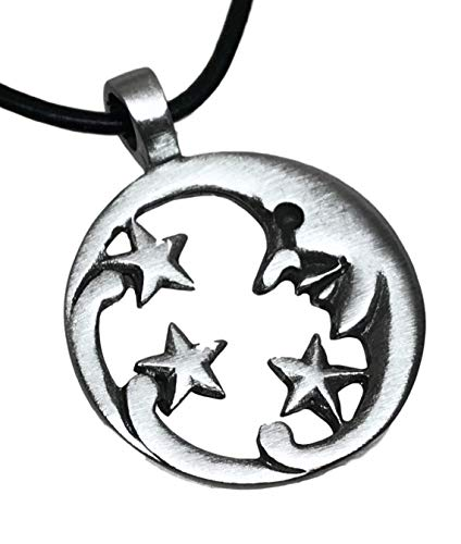 Trilogy Jewelry Pewter Moon Face with Stars Celestial Lunar Solar Pendant, Leather ()