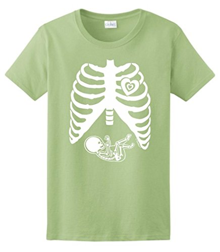 Pregnant Skeleton Baby Maternity Theme Costume Ladies T-Shirt Large Pistachio