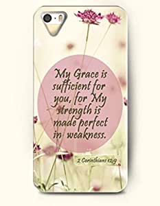 iPhone 5 5S Case OOFIT Phone Hard Case ** NEW ** Case with Design My Grace Is Sufficient For You, For My Strength Is Made Perfect In Weakness. 2 Corinthians 12:9- Bible Verses - Case for Apple iPhone 5/5s
