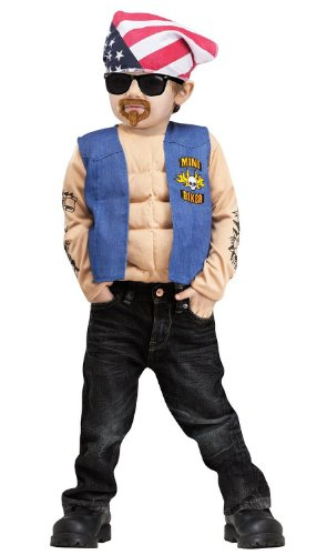 [Fun World Little Boy's Mini Biker Costume - Biker Halloween Costume 3T-4T] (Biker Kid Costume)