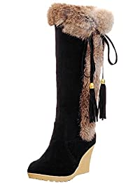 Rabbit Hair Snow Boots Women Comfortable Wedge Tassel Winter Warm Mid-calf Boots By BIGTREE