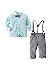 AIKSSOO 2Pcs Toddlers Baby Boys Outfit Set Bowtie Shirt+Plaid Suspender Pants