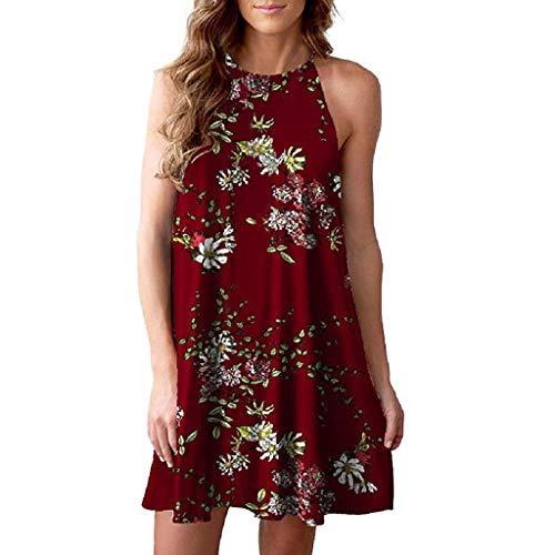 2019 Women's Sleeveless Backless Mini Dress Boho Print Beachwear Dress Sundress Red]()