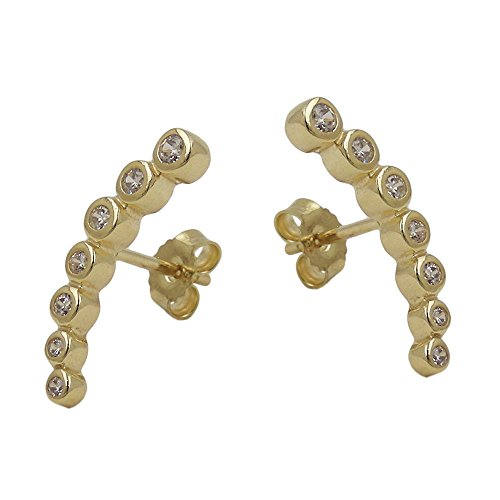 Earrings, je 7 Zirkonias, 9Kt GOLD
