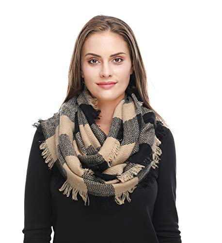 Lucky Leaf Women Winter Checked Pattern Cashmere Feel Warm Plaid Infinity Scarf (Beige Plaid) (Infinity Scarf Knitted Black)