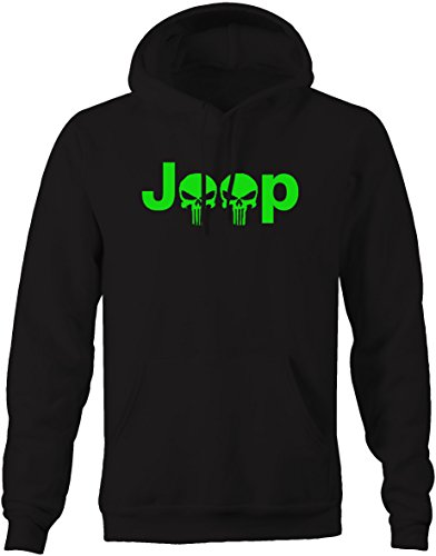 Lifestyle Graphix Lime - Jeep Logo With Punisher Skulls4x4 Outdoor- Sweatshirt - XLarge