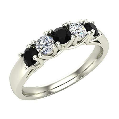 - Wedding band Five Stone Diamond Ring Round Brilliant Cut w/Trellis Setting 0.50 carat total weight 14K White Gold (Ring Size 5.5)
