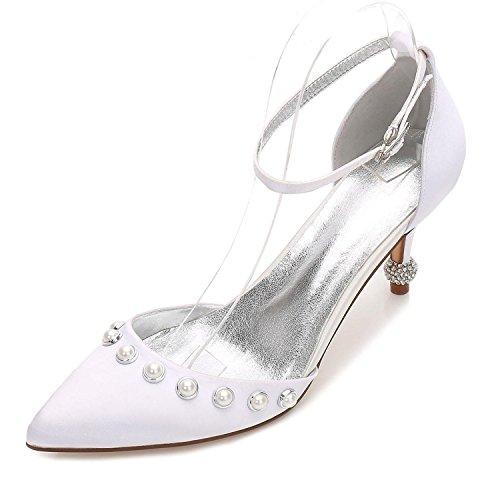 L@YC Zapatos de Mujer Básica de Boda Confort Confort Tobillo Correa de Punta Estrecha Zapatos Tacón Bajo Gatito Tacón de Aguja White