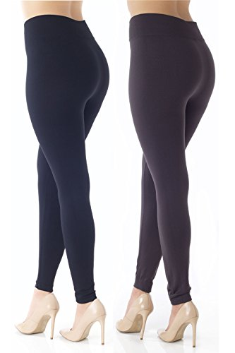 (Conceited Fleece Lined Leggings for Women - LFL 2 Pack Black/Dark Grey - Large/X-Large)
