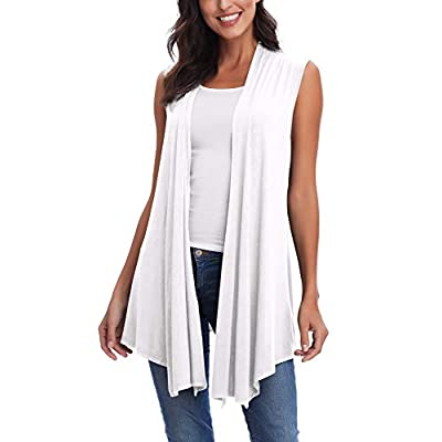 Women's Sleeveless Asymmetric Cardigan Vest Solid Open Front Draped at Women's Clothing store