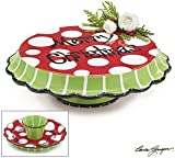 Merry Christmas Pedestal Cake Plate/Stand or Chip and Dip Set Unique Holiday Serveware