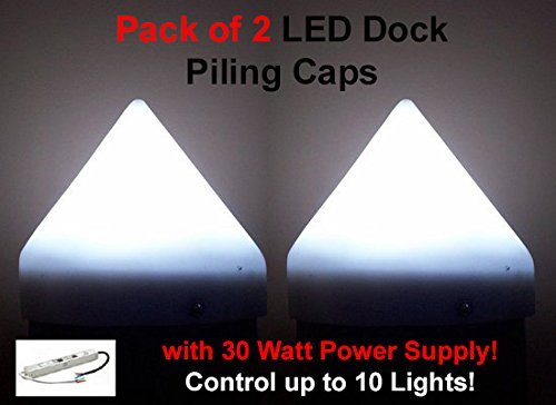 """Set of 2 12"""" LED White Illuminating Dock Piling Caps (2 Watts Each) with 12V 30 Watt Power Supply – Control up to 10 Lights!"""