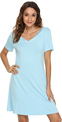 GYS Women's Short Sleeve Nightshirt V Neck Bamboo Nightgown, Large, Pale Blue