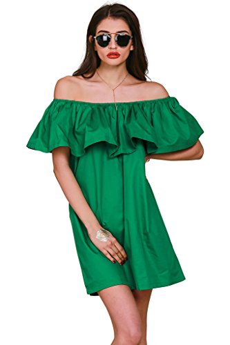 Simplee Apparel Women Loose Off Shoulder Ruffle Cotton Tunic Mini Dress, US 0-12, Green - Ruffle Off Shoulder