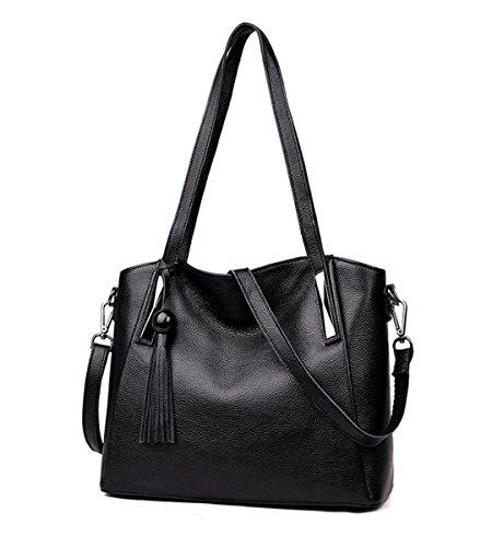 Vtootkl Lxopr @ Leather Shoulder Bag, Crossbody Bag, Backpack, Lady, 13.3 * 5.5 * 10.6 (inch) Black