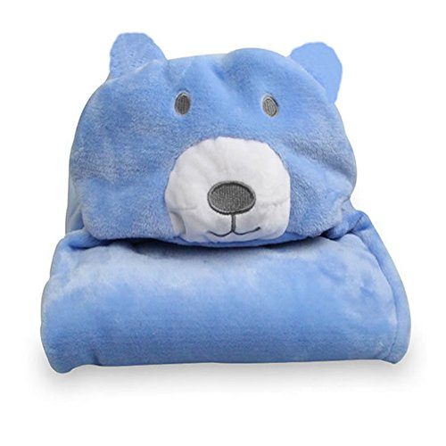 (Lanlan Toddler Baby Kid Girl Boy Cute Animal Hooded Blanket Bathrobe Bath Towel Flannel Wrap Washcloth Blue Bear ; dimensions:100 100cm)