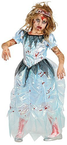 Girls Dead Spooky Bloody Zombie Blue Princess Lost Glass Shoes Halloween Fancy Dress Costume Outfit 3-12 Years (3-4 -