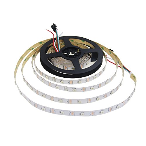 Price comparison product image Aclorol WS2812B LED Strip Light 30 Pixels / M Individually Addressable Programmable Dream Color 16.4ft 150 5050 RGB SMD Pixels White PCB 5V Non-Waterproof Work with Arduino,  FastLED Library & Raspberry