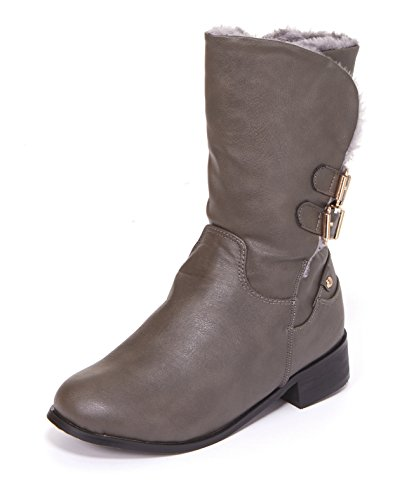 Junie's Women's Harley Faux Fur Lined Combat Motorcycle Boot, Brown Size 11