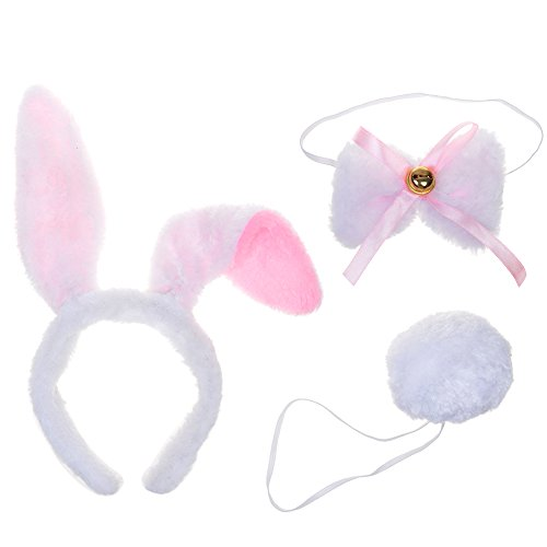 BCP Animals White Plush Bunny Rabbit Ears Tail Bow Tie Party Halloween Costume kit (Kids Rabbit Costume)