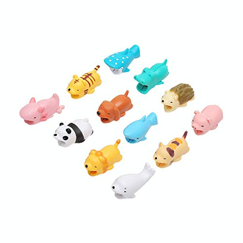 Cute Animal Cable Bites Protector- 12 Pack Cable Buddies Charging Cords Data Line Protection Compatible for iPhone Cable