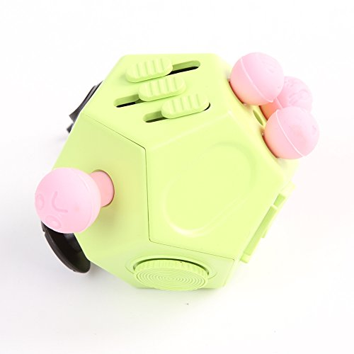 Xinzistar 2 Pcs Fidget Dice II and Dice I Stress Release Anxiety Attention Toys for Children and Adults (Green+09) - 4