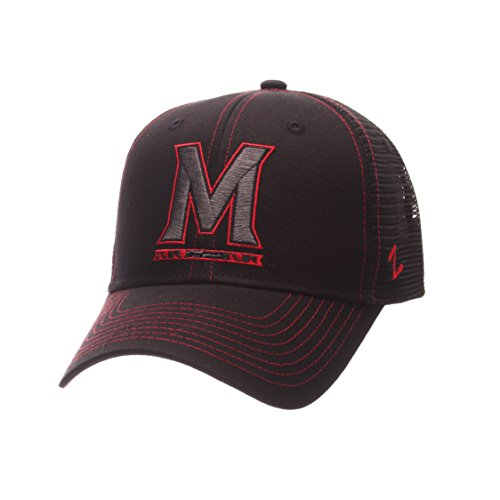 NCAA Maryland Terrapins Adult Men's Staple Trucker Blackout Cap, Adjustable Size, Black