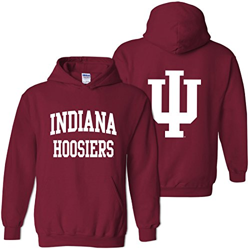 AH46 - Indiana Hoosiers Front and Back Print Hoodie - 2X-Large - Cardinal