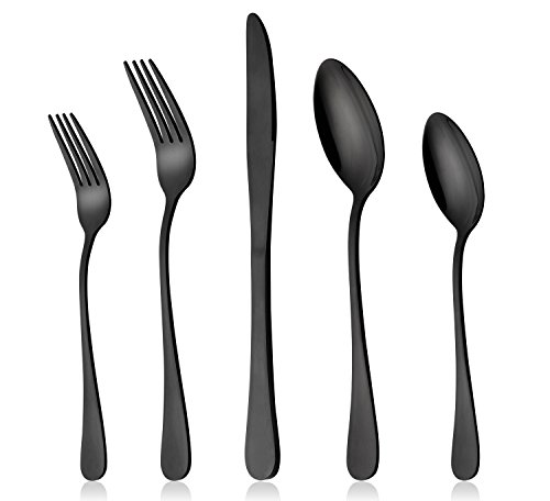 (Black Silverware Set, LIANYU 20-Piece Stainless Steel Flatware Cutlery Set for 4, Mirror Finish, Dishwasher Safe, Nice Box)