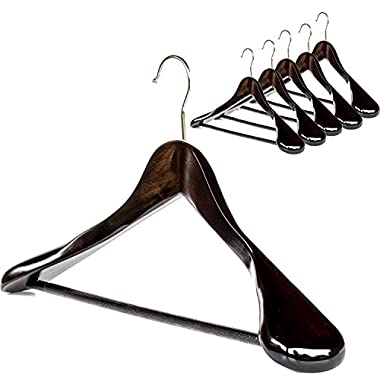 Clutter Mate (Set of 6) Premium Finished Wooden Suit Hangers - Wide Wood Hanger for Coats and Pants