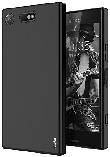 Aeska Sony Xperia XZ1 Compact Case, Ultra [Slim Thin] Flexible TPU Gel Rubber Soft Skin Silicone Protective Case Cover for Sony Xperia XZ1 Compact (Matte Black)