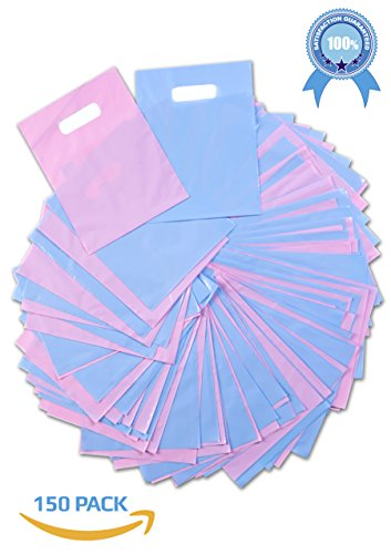 GlitZ BagZ Plastic Gift Bags Pink & Blue | Merchandise Shopping, Retail Stores, Wholesale Bulk Party Pack, Baby Showers | Glossy Thick Reusable Poly, Die Cut Handles | 9 X (Bulk Baby Shower Favors)