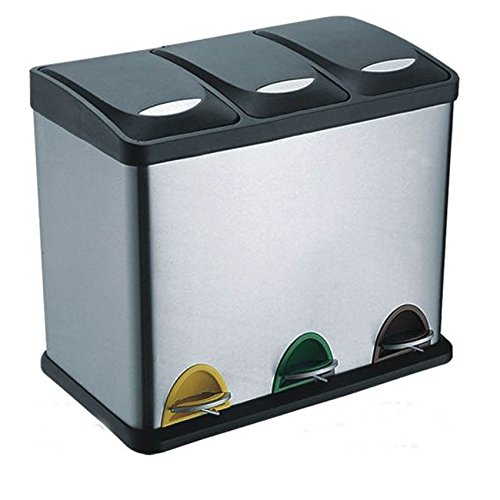 Treteimer Abfalleimer Mülleimer Mülltrennung Edelstahl (24 Liter 3x8L)