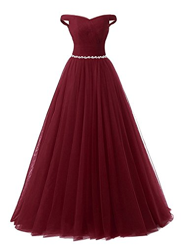 APXPF Women's Long Tulle Crystal Formal Prom Dress Quinceanera Dress Ball Gown Burgundy US6