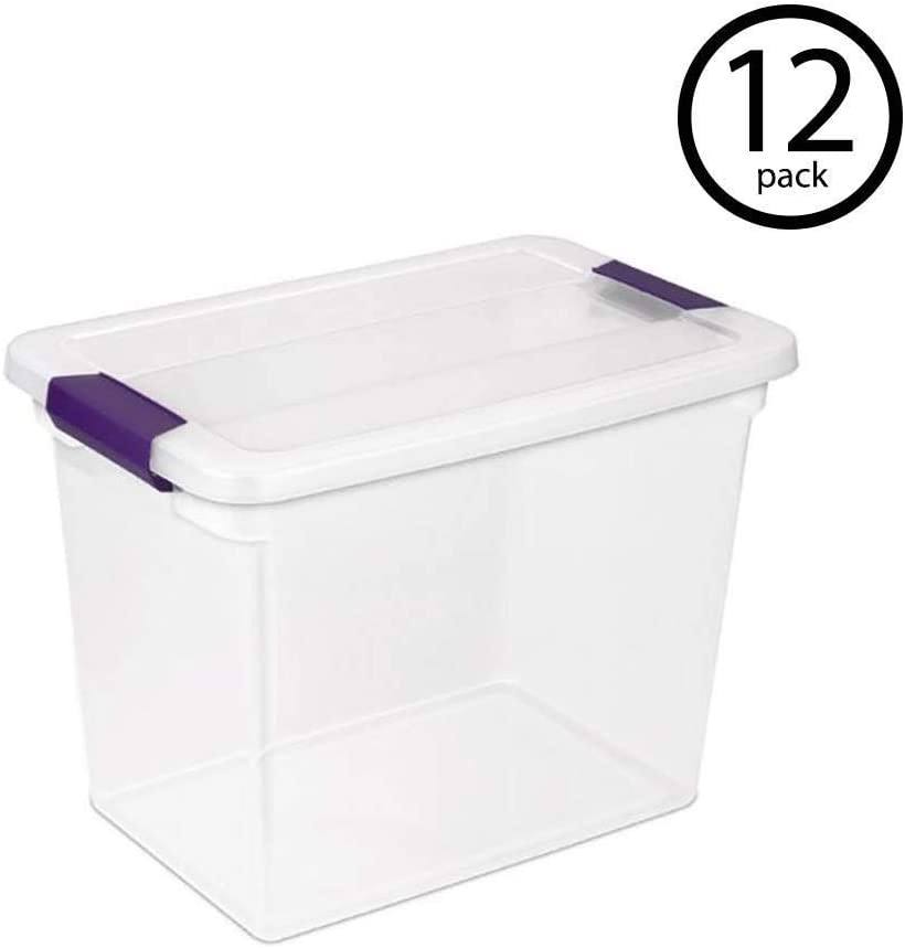 Sterilite 17631706 27 Quart ClearView Latch Box Storage Tote Container, 12 Pack
