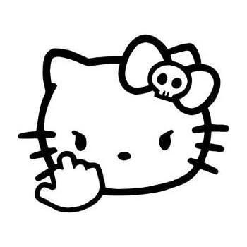 9c0e7748b Hello Kitty Middle Finger Decal Vinyl Sticker|Cars Trucks Vans Walls  Laptop| Black |5.5 x 4.5 in|CCI1204