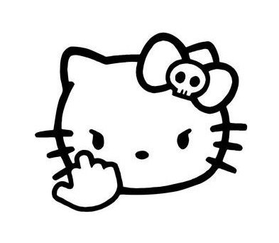 Hello Kitty Middle Finger Decal Vinyl Sticker|Cars Trucks Vans Walls Laptop| Black |5.5 x 4.5 in|CCI1204 ()