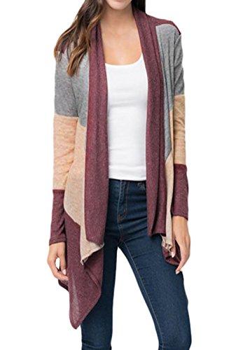 HUUSA Sexy Womens Shawl Neck Drape Front Long Sleeve Cardigan Sweater M Wine