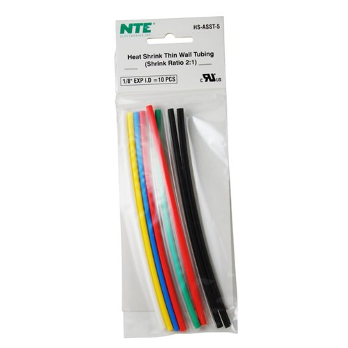 NTE Electronics HS-ASST-5 Thin Wall Heat Shrink Tubing Kit, Assorted Colors, 6