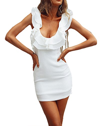 Ébouriffé Robe De Bandage De Femmes Kenancy Profonde Sexy V-cou Manches Dos Nu Mini Robe Moulante Partie Blanche