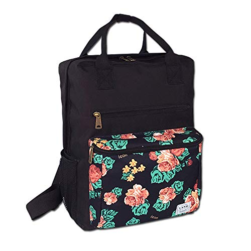 Landuo Diaper Bag Backpack, Baby Nappy Tote Bag, Stylish Large Organizer Mummy Bag for Travel (Black Rose) - Flower Pattern Removable Strap