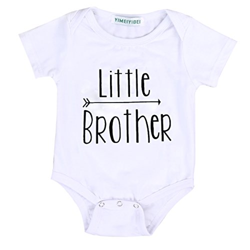 Little Brother&Big Brother Print Arrow Pattern Romper& T-shirt Tee Tops For Boys (3-6 M, little Brother)