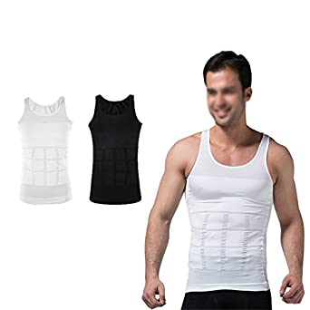 d6a73e16c7613 Image Unavailable. Lazar Fitness Men s Body Shaper Slimming Slim Body  Compression Vest Shirt Belly Tummy Trimmer