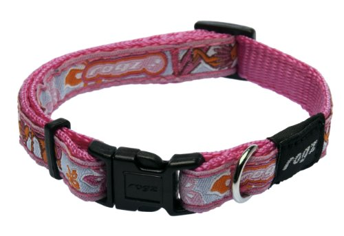 Rogz Fancy Dress Small 3/8-Inch Jellybean Dog Collar, Pink Rogzette Design